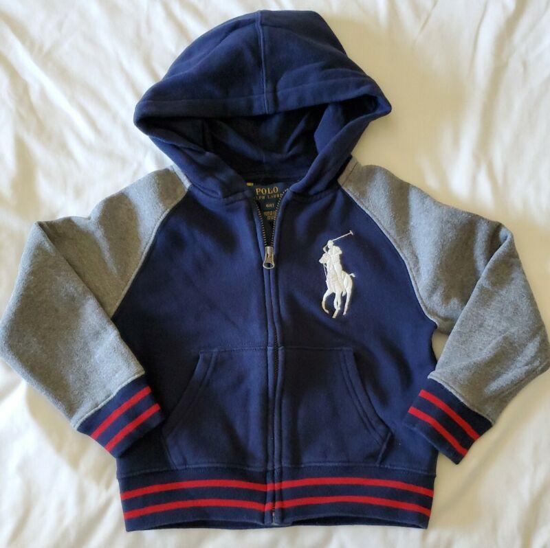 Polo Ralph Lauren Toddler Boys Blue/Gray/Red Stripe Hoodie Knit Cotton 4T