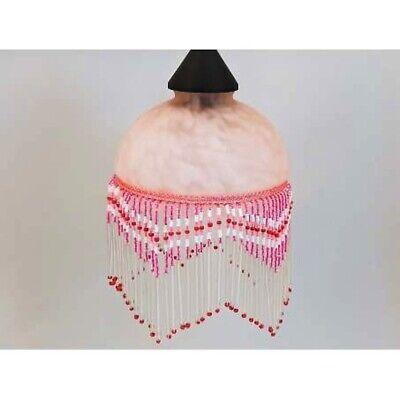 Pantalla de Vidrio Rosa Con Cuentas Diámetro 15CM Vintage Lámparas de Araña