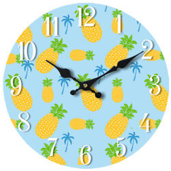 Pineapple Pattern Glass Wall Clock 13X 13 Home Wall Decor Coastal Beach New