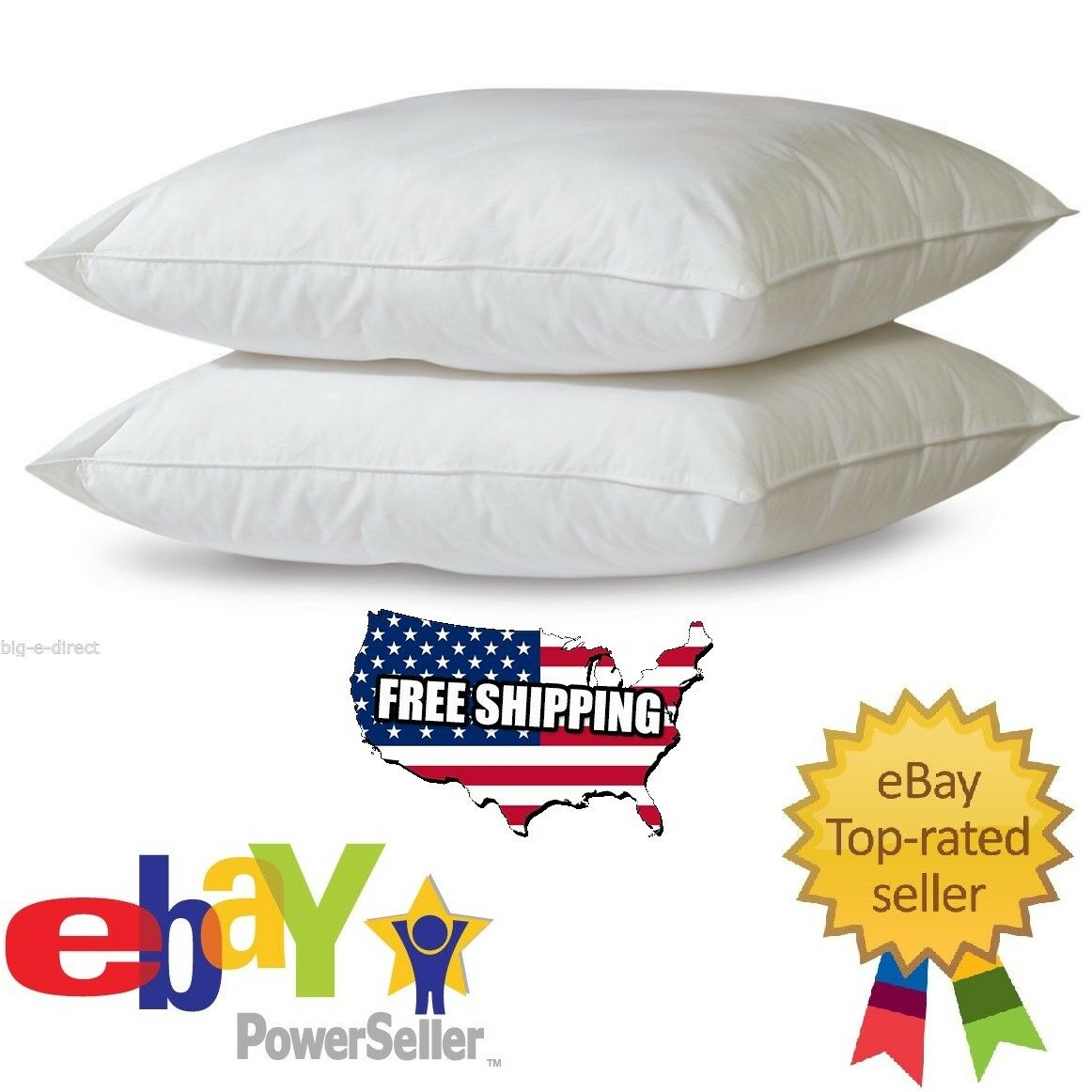 2 Serta Perfect Sleeper Queen Size Bed Pillows Soft Cotton C