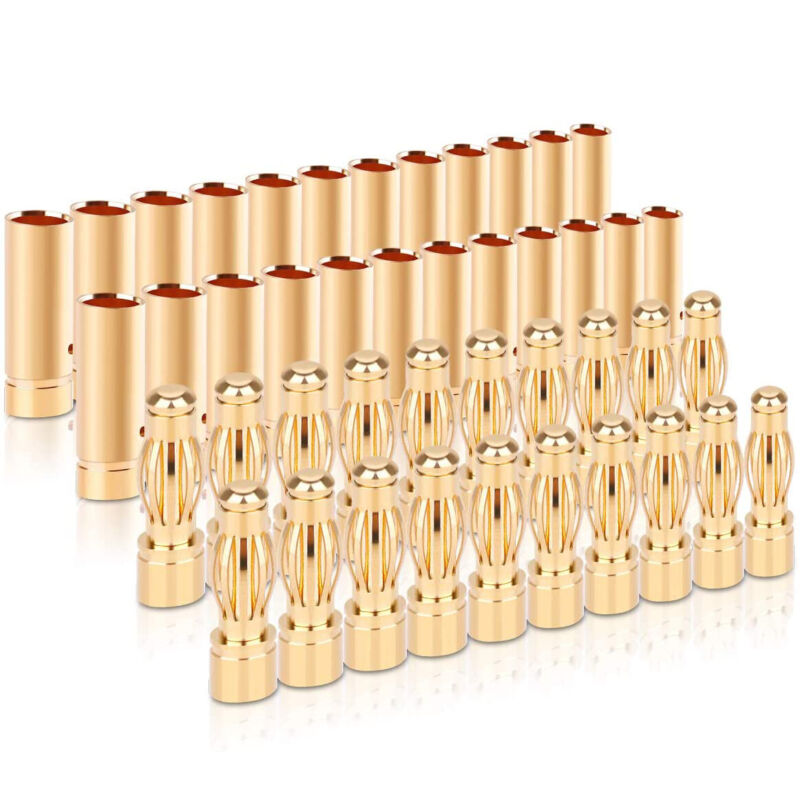 20Pair 4.0mm 4mm RC Battery Electronic Gold-plated Bullet Banana Plug Connectors