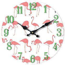 Flamingo Pattern Glass Wall Clock 13X 13 Home Wall Decor Coastal Beach New