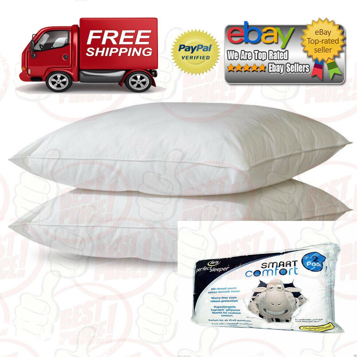 2 Serta Perfect Sleeper Queen Size Bed Pillows Soft Cotton C