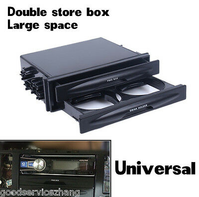 Universal Car Single Double Din Radio Pocket Kit W Drink Cup Holder Storage Box