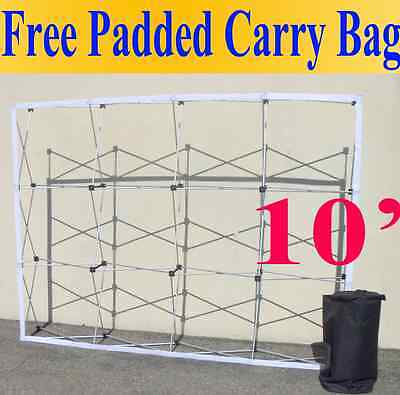 10 Pop-up Tension Fabric Trade Show Display Booth Frame Stand Pop Up Free Case