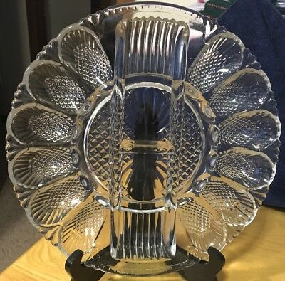 Vtg Clear Glass Egg Relish Plate 11 Inches ()