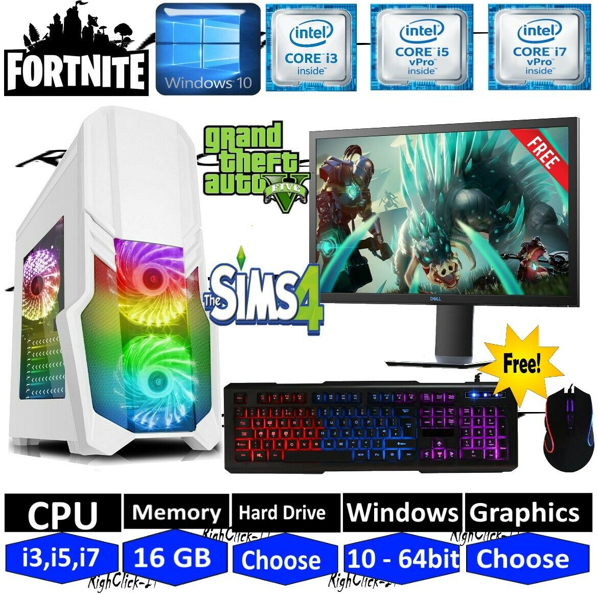 Computer Games - ULTRA FAST i3 i5 i7 Desktop Gaming Computer PC 2TB 16GB RAM GTX 1660 Windows 10