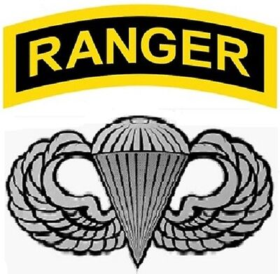 US ARMY RANGER WITH AIRBORNE WINGS VINYL WINDOW DECAL. SALE!