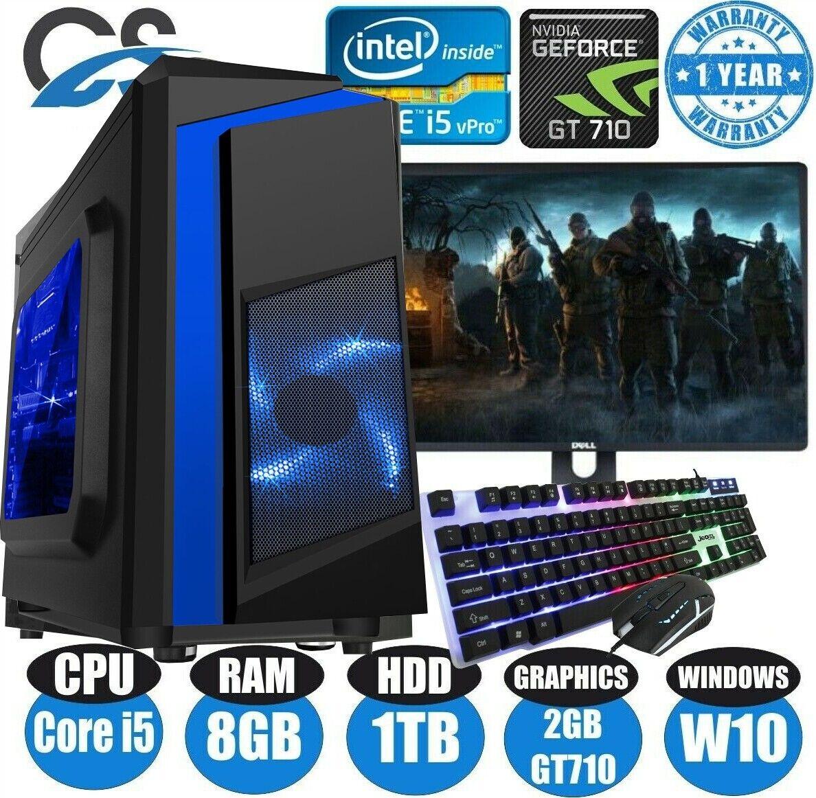 Computer Games - Fast Gaming PC Computer Bundle Intel Quad Core i5 8GB 1TB Windows 10 2GB GT710