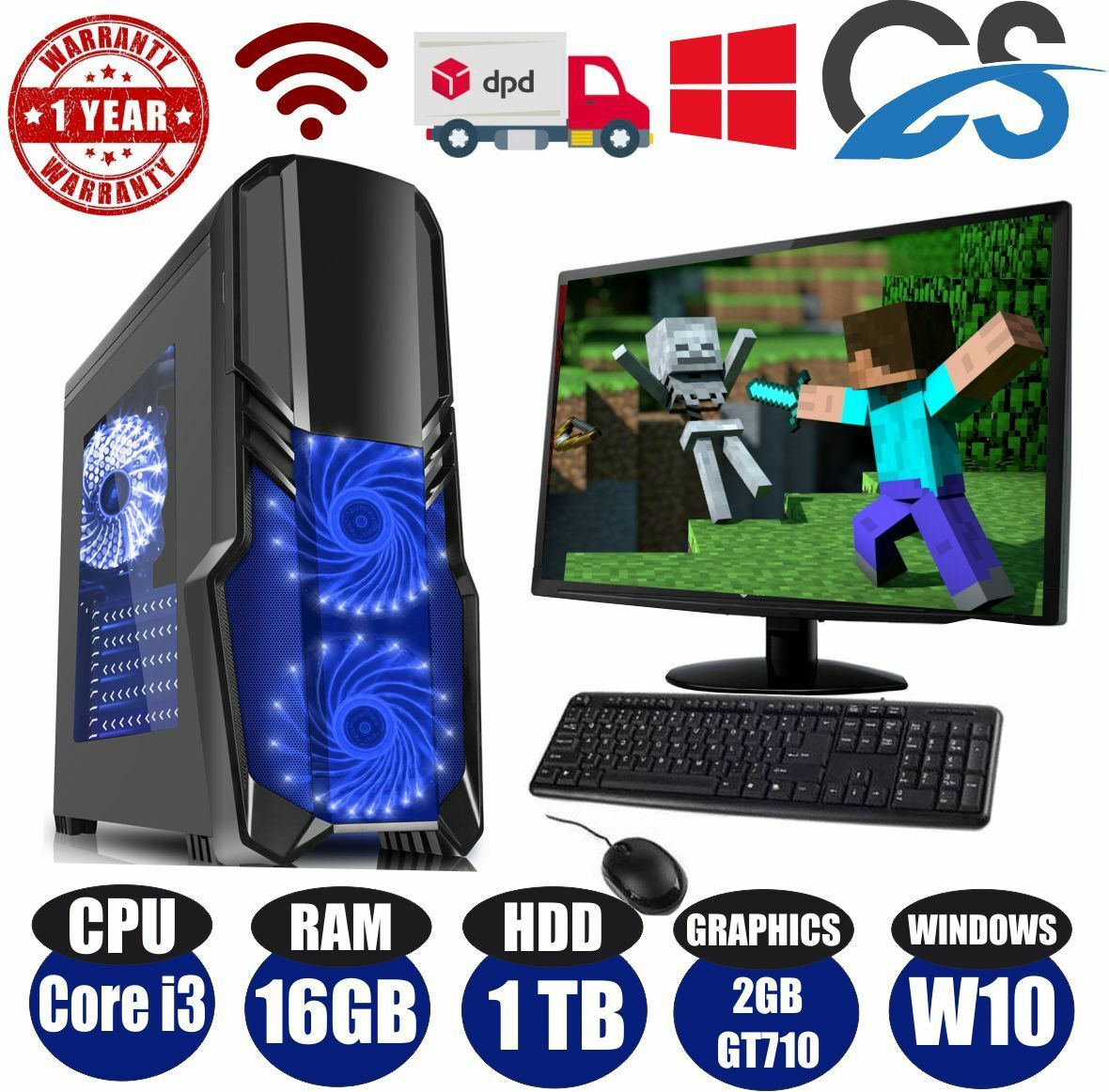 Computer Games - FAST Gaming Computer PC Bundle Intel Core i3 @ 3.10GHz 16GB 1TB Window 10 GT710