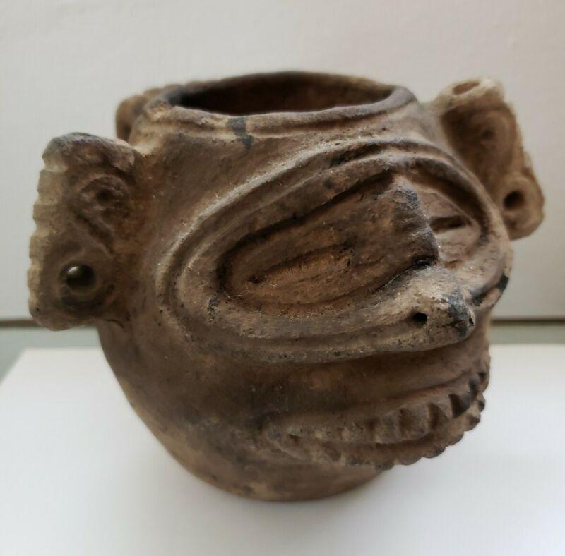 PRE-COLUMBIAN ARAWAK TAINO CEREMONIAL POT BOWL VESSEL / MUSEUM QUALITY ARTIFACT