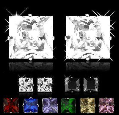 1 Paar Ohrstecker Zirkonia Strass Kristall Herren Damen Ohrringe 5 x 5 mm (Herren Ohrringe Ohrstecker Kristall)