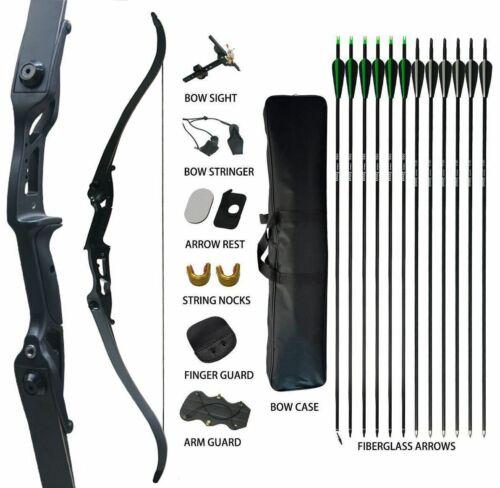 50Lb Archery Recurve Bow Takedown Arrows Set RH Hunting Adult Pro Steel Riser
