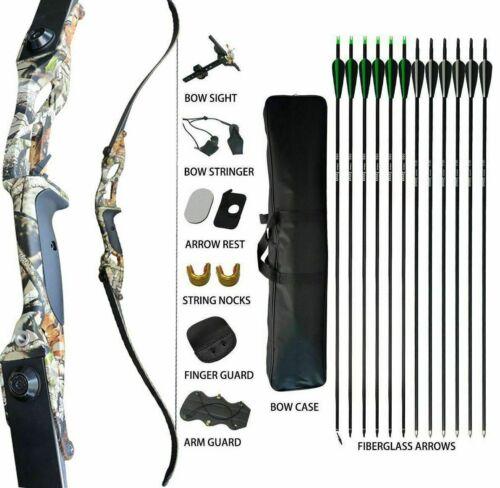 35lb Archery Takedown Recurve Bow Kit Fiberglass Arrows Bowbag Camo RH Adult