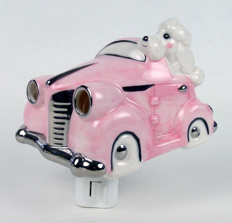 Adorable White Poodle Pink Roadster Car Ceramic 3D Night Light Swivel Plug NIB