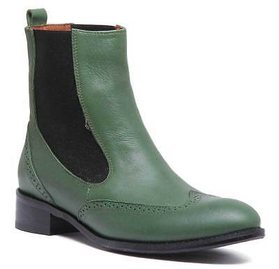 Justin Reece Giana Womens Leather High Chelsea Boots In Green Sizes UK 3 - 8
