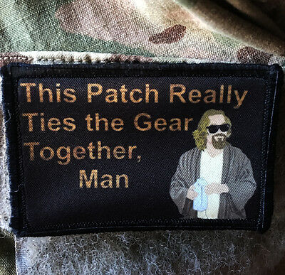 """Big Lebowski Movie """"Pee Rug"""" The Dude Morale Patch Tactical ARMY Hook Military"""
