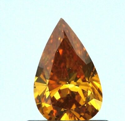 0.53 CT PEAR F.DEEP BN.YELLWISH.ORANGE COLOR SI1 GIA CERT DIAMOND TAXFREE  Gift