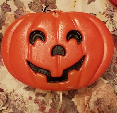"Vintage Pumpkin Jack-O-Lantern Halloween Flat 10"" Plastic Blowmold Blow Mold Old"