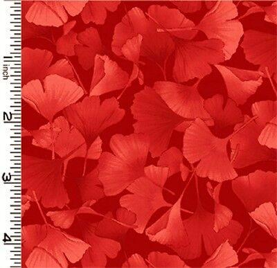 Fabric  2581  Petite Ginkgo Leaves  Red On Red  Kona Bay  Sold By 1 2 Yard
