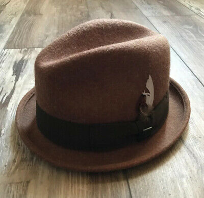 "Brixton 100% Wool Felt ""Gain"" Fedora Hat Brown Size Medium 7 1/4 58cm Brixton Gain Fedora"