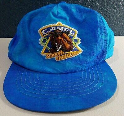 Vintage 80's Joe Camel Cigarettes Smooth Snapback Hat Tie Dye Blue Turquoise Cap