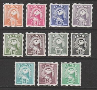 GB QE Lundy Regional set of 11 stamps MNH