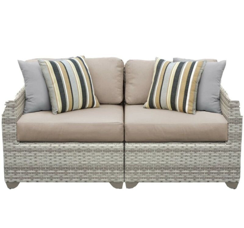 TK Classics FAIRMONT-02a-WHEAT 2 Piece Outdoor Wicker Patio Furniture Set, Wheat