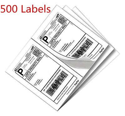 500 Half Sheet Self Stick Shipping Labels 8.5x5.5 For Ebay Fedex Usps