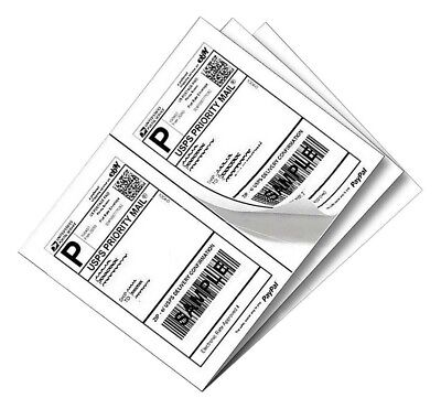 Self Adhesive 1200 Half Sheet Labels 2 Per Sheet 8.5 X 5 For Ebay Paypal Ups