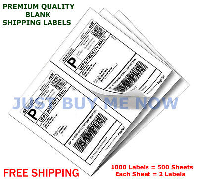 1000 Labels Half Sheet Self Adhesive Shipping Labels For Laser Inkjet Printers