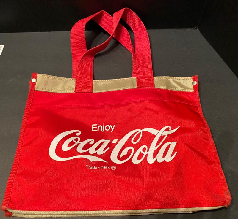 "Enjoy Coca Cola 3 Pocket Tote Bag for Beach Everyday Use Red White 14"" x 6"" x11"""