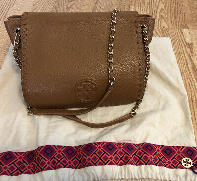 Tory Burch Marion Pobbled Leather Flap Shoulder Crossbody