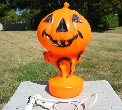 Vtg Halloween Plastic Blow Mold Black Cat & Pumpkin Light Yard Decor Window Old