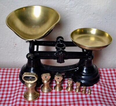 VINTAGE ENGLISH LIBRASCO CAST IRON KITCHEN SCALES 7 BELL WEIGHTS