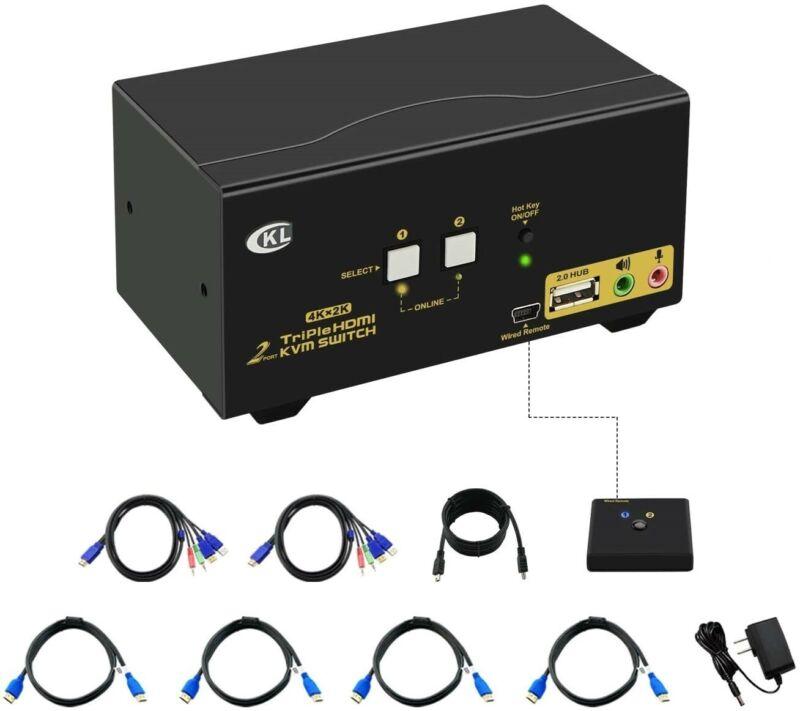 CKL 2 Port HDMI KVM Switch Triple Monitor with Audio, Microphone, USB CKL-923HUA