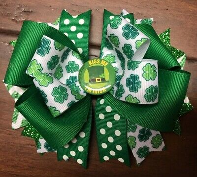 Shamrock Hair Bow Boutique Handmade Clip Green Polka Dot KISS Me I'm Irish