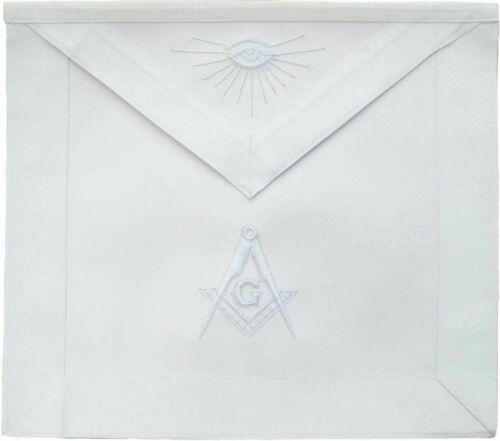 """Master Mason MASONIC REGALIA MM WHITE Synthetic LEATHER Apron 16"""" x 14"""""""