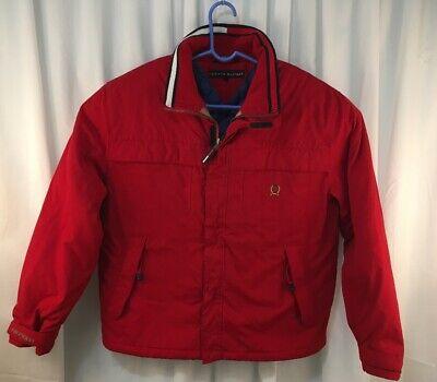 Vintage Men's TOMMY HILFIGER Red Quilt Lined Full Zip Jacket Parka  XL  (Tommy Hilfiger Quilts)