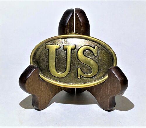 Civil War Union Army US Oval Belt Buckle Replica ~ Antique Brass-Finish Metal