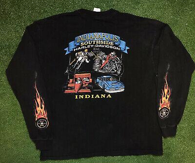 Vintage Harley Davidson Flames Sleeves VTG Long Sleeve T Shirt XL
