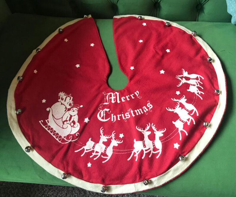 Antique/Vintage Style Christmas Tree Skirt Red Flannel With Jingle Bells  23.5""