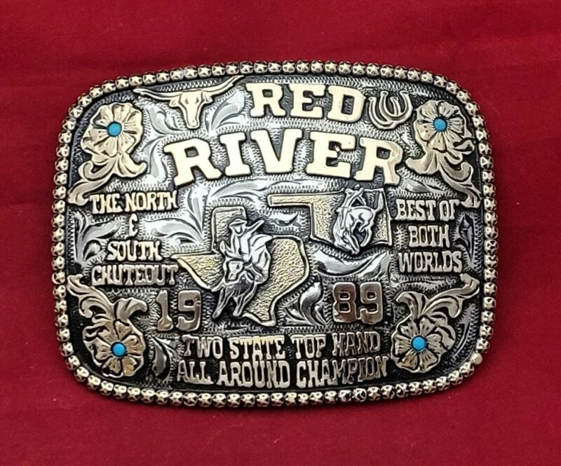 ALL AROUND CHAMPION RODEO TROPHY BUCKLE ☆RED RIVER☆ TEXAS OKLAHOMA☆1989☆-812