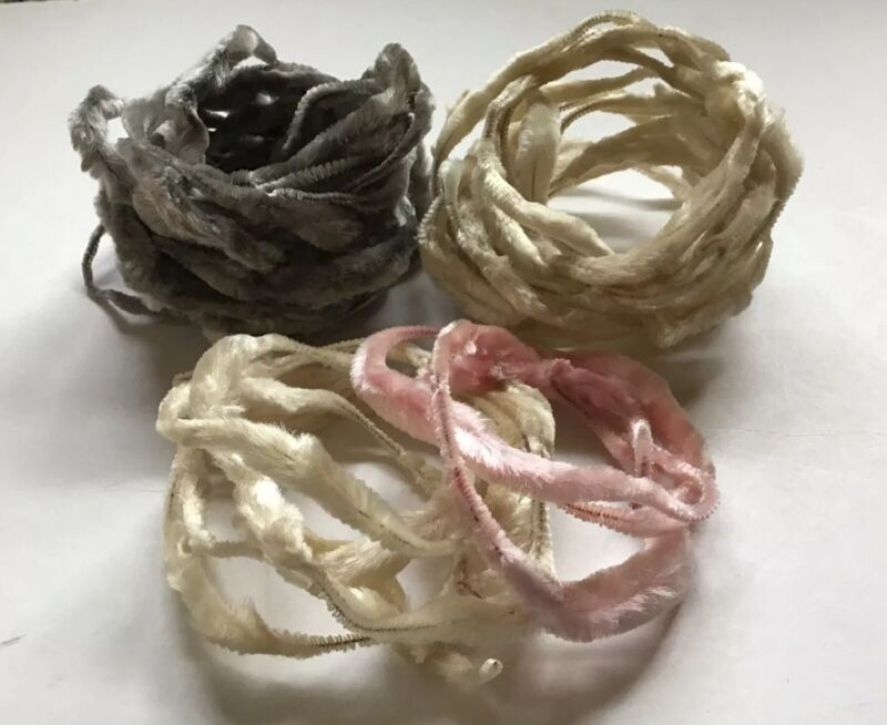 Vintage Bump Chenille Garland Ornaments Large Lot Pink Gray Ivory NOS