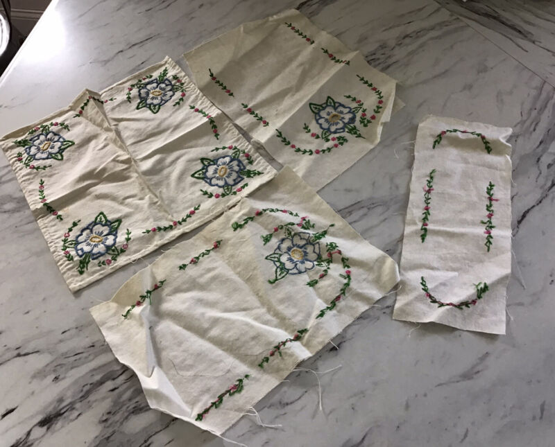 Vintage Unfinished Embroidery Project 5 Pieces 1940's