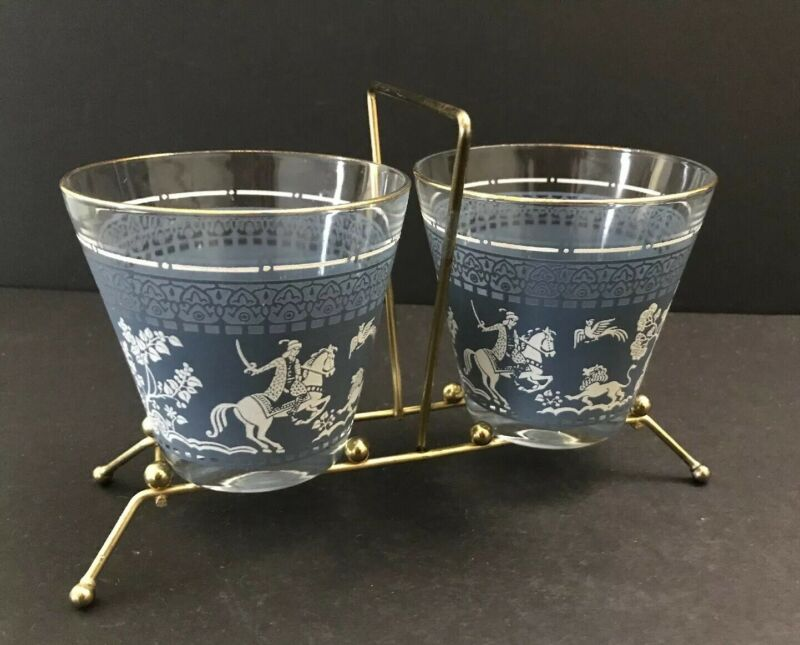 Japanese Warrior Horse Fight Pair Set of 2 Cocktail Glass w/Stand (blue / white)