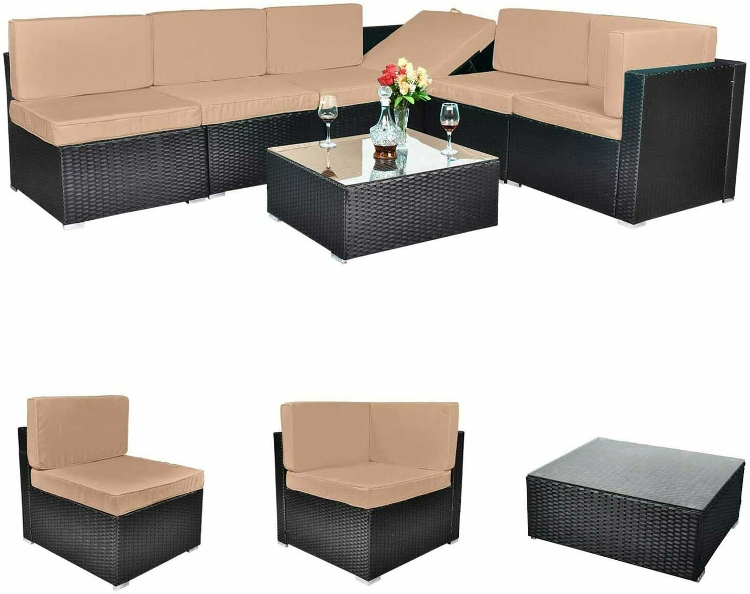 Outdoor All-Weather 7 Pieces Patio Furniture PE Rattan Wicke