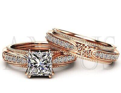 2.54ct Princess Cut Diamond Engagement Ring Wedding Band Solid 14k Rose Gold