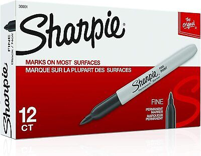 Premium Sharpie Permanent Fine Point Marker Black 30001 12 Each