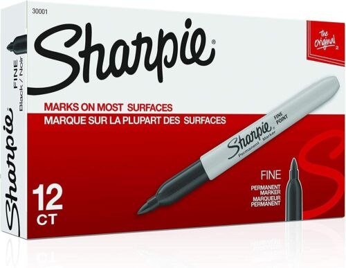 Premium Sharpie Permanent Fine Point Marker Black 30001, 12 each